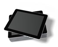 Gestapelde tabletPC die op wit wordt geïsoleerdn. Stock Foto