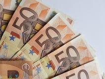 gestapelt 50 Euroanmerkungen Stockfotografie