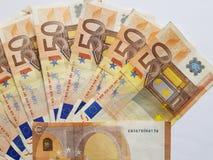 gestapelt 50 Euroanmerkungen Stockbild