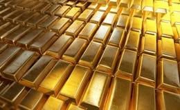 Gestapelt shinny Goldbarren oder Goldbarren Lizenzfreie Stockfotografie