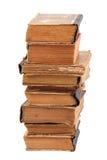 Gestapelte alte Bücher der unterschiedlichen Form und der Farbe Lizenzfreie Stockbilder
