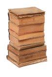 Gestapelte alte Bücher der unterschiedlichen Form und der Farbe Stockbild