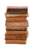 Gestapelte alte Bücher der unterschiedlichen Form und der Farbe Stockfotos