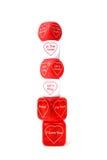 Gestapelte Liebes-Würfel Stockbilder