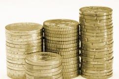 Gestapelte Münzen Stockbild