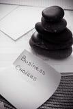 Gestapelte Zensteine: Geschäftsmetapher für Schwerpunkt Stockfoto