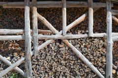 Gestapeltes Brennholz Stockfoto