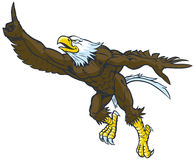 Geste chauve d'Eagle Mascot Doing Number One de bande dessinée illustration stock