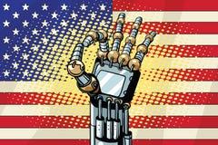 Geste CORRECT de robot, le drapeau des USA illustration libre de droits