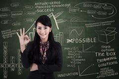 Geste d'approbation de femme d'affaires dans la classe photographie stock