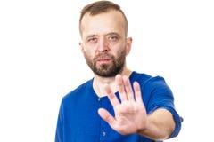 Geste d'arrêt d'apparence d'homme photographie stock libre de droits