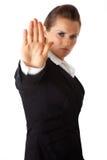 Geste d'arrêt d'apparence de femme d'affaires Image libre de droits