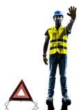 Geste d'avertissement d'arrêt d'homme de triangle de sécurité de signaux Images stock