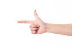 Geste de main avec un doigt à indiquer juste et des autres levés  Photographie stock