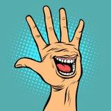 Geste de main cinq d'émotion de joie de sourire salut illustration de vecteur