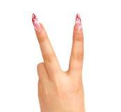 Geste de main, signifiant la victoire Photo libre de droits