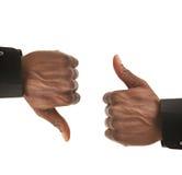 Geste de mains noir d'homme d'affaires vers le haut vers le bas photo stock