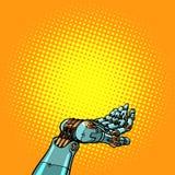 Geste de présentation de main de robot illustration de vecteur