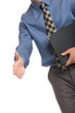Geste de prise de contact d'homme d'affaires images stock