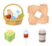 Geste der Hände in der Unterstützung, ein Korb mit Lebensmittel für Nächstenliebe, Spenderblut, ein Geschenkspendenkasten Nächste Lizenzfreie Stockfotos