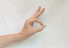 Geste, die O.K. sagt Stockfotografie