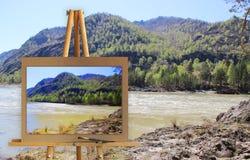 Gestell mit einer Malereiaquarellillustration von Altai-Bergen Lizenzfreie Stockfotos