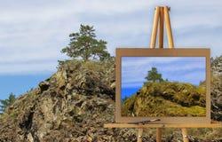 Gestell mit einer Malereiaquarellillustration von Altai-Bergen Lizenzfreies Stockfoto