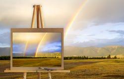 Gestell mit einer Malereiaquarellillustration von Altai-Bergen Stockbilder