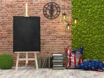 Gestell mit leerem schwarzem Plakat im Dachbodeninnenraum, Illustration 3d Stockfotos
