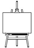 Gestellstativ des Künstlers auf Weiß Stockfoto