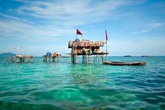 Gestelztes Haus in Semporna Sabah Borneo lizenzfreies stockfoto