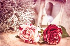 Gestemde foto van twee rozen voor valentineof birtday dag, achtergrondfotografie, wijnoogst Royalty-vrije Stock Foto