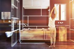 Gestemde luxe zwarte en houten futuristische badkamers Royalty-vrije Stock Afbeelding