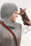 Gestemde vrouw/middeleeuws pantser/retro spleet royalty-vrije stock fotografie