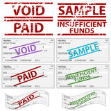Gestempelte persönliche Checks Lizenzfreie Stockfotos