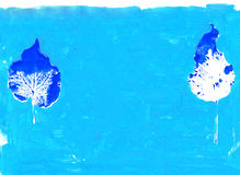 Gestempelte trockene Blätter auf blauem Hintergrund vektor abbildung