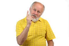 Gesten des älteren kahlen Mannes Stockbilder