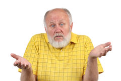 Gesten des älteren kahlen Mannes Lizenzfreie Stockfotos