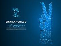 Gesten för nummer två för teckenspråket, fingrar upp, handen i det poly Polygonal bottenläget för fred Döv folkkommunikationsvekt vektor illustrationer