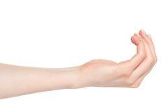 gesten gömma i handflatan motta kvinnan Royaltyfri Foto