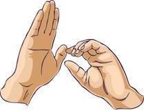 gesten hands en dragande uppvisning Arkivbilder