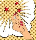 Gester räcker, ett knäpp av fingrarna, gnistor av röda stjärnor Skissa i stilpopkonst, komiker Appelluppmärksamhet och Royaltyfri Bild
