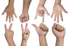Gestes de main - ensemble de compter des mains d'isolement Image libre de droits