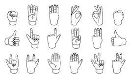 Gestes de main, grande conception pour tous buts signes Ligne icône de geste Gestes humains d'ensemble de vecteur Fond blanc illustration de vecteur
