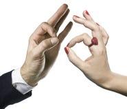 Gestes de main masculins et femelles photos libres de droits