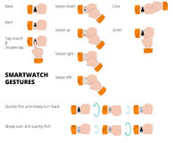 Gestes de Smartwatch Collection de mains avec le smartwatch vecteur prêt d'image d'illustrations de téléchargement Images stock