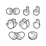 gesthand Linje symbolsuppsättning stock illustrationer