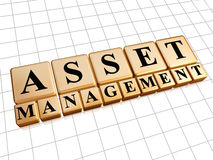 Gestión de activos en cubos de oro Imagen de archivo libre de regalías