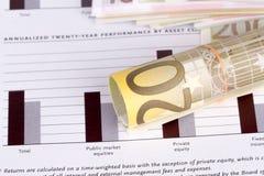 Gestión de la carta del gráfico con los billetes de banco euro Fotos de archivo