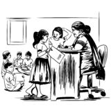 Gestión de la educación en la India stock de ilustración